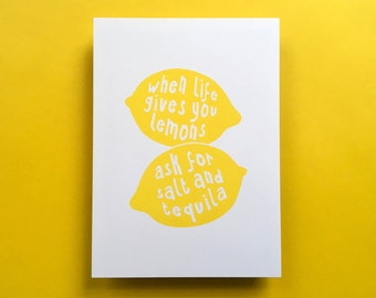 """Kitchen Art Print Lemon """"When life gives you lemons, ask for salt and tequila"""", fits IKEA RIBBA frame 8x10"""" / 18 x 24 cm"""