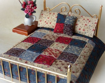 """Miniature Handmade Quilt  with 2 Matching Bed Pillows & Decorator Pillow, """"Theodora"""" - 1:12 Scale"""