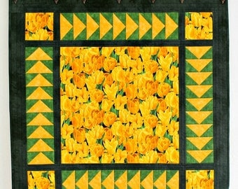 Quilted Wall Hanging, Yellow Tulips, Table Topper, Table Runner, Tablecloth, Table Quilt, Quiltsy Handmade
