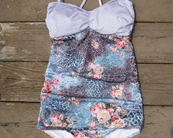 Vintage Floral Retro Swimsuit with polka dots top