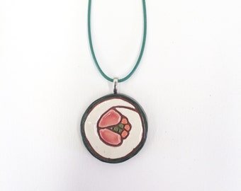 Sushi Pendant Necklace Tuna kitsch pop jewelry ceramic
