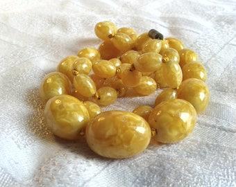 Art Deco Venetian, Murano Glass Bead Necklace in Egg Yolk Amber Colour.