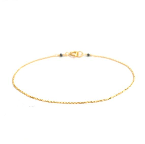 18K Gold. Black Diamond Bracelet, Delicate chain Bracelet, Delicate Gold Bracelet, April Birthstone Jewelry, 18k gold bracelet