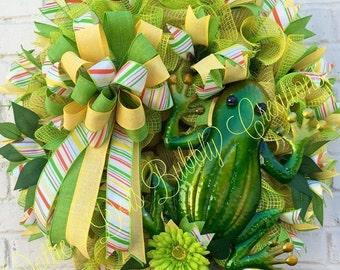 Jute Fabric Mesh Frog Summer Grapevine Wreath, Frog Wreath, Summer Wreath, Spring Wreath, Everyday Wreath