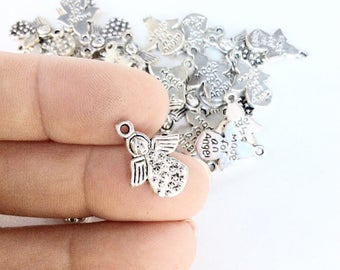 40pc Little Angel With stars charms antiqued silver color  made for an angel