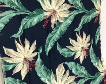 Midcentury Bark Cloth Tropical Floral Fabric Navy and Green