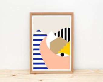 Eye and city - art print, illustration by depeapa, A4 wall art, poster, wall decor, kids room decor