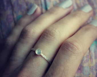 Moonstone ring, Sterling silver ring, patterned stacking ring, midi ring, stackable ring