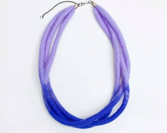 Felt Necklace, Multi Strand Necklace, Lilac and Blue Necklace