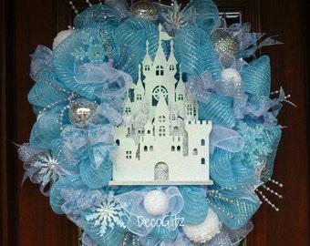 WINTER WONDERLAND Sparkly ICE Castle  Deco Mesh Wreath, January Wreath, Winter Wreath, Cinderella Castle Wreath