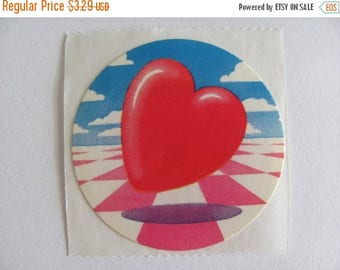 SALE Vintage Lisa Frank Floating Heart Sticker - 80's Pink and White Checkered Cloud Sky