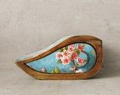 ON SALE Special box, Jewelry storage keepsake drawer vintage wooden box, FREE Shipping, Mini box, birds, flowers, blossoming tree