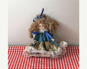 20% off SALE vintage italian porcelain doll - CURLY HAIR doll