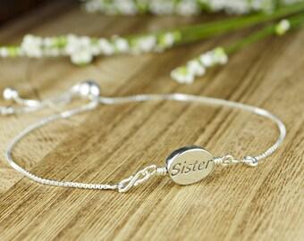 Sister Message/Word Adjustable Sterling Silver Interchangeable Charm/Link Bolo Bracelet- Charm, Bracelet Chain, or Both