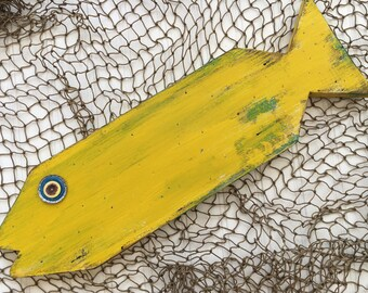 Primitive Fish - Coastal Decor - Wooden Fish - Lake Decor - Rustic Style