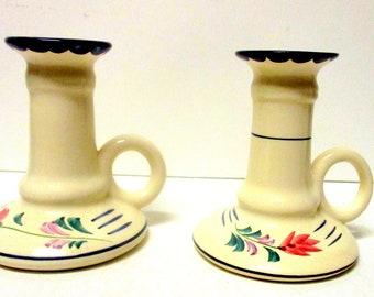 Vintage Porcelain Candle Holders with Finger holes