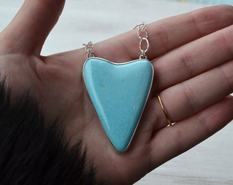 Turquoise Heart Necklace, Natural Bisbee Turquoise Necklace, Bezel Set Stone Pendant Necklace, Long Sterling Silver Gemstone Necklace, OOAK