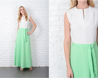 Vintage 70s White + Green Mod Dress Maxi Sleeveless Gingham Plaid Small S 8807