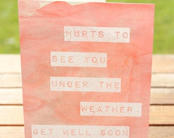 Get Well Card   Hate to See You Under the Weather   A7 5x7 Folded - Blank Inside - Wholesale Available