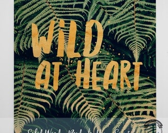 Wood Sign: Wild at Heart Palm Fronds - Product Sizes and Pricing via Dropdown Menu
