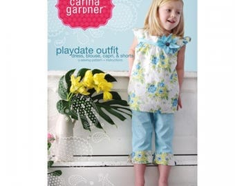 PAPER PATTERN - Playdate Outfit (Dres, Bluouse, Capri, & Shorts) Sewing Pattern + Instructions from Carina Gardner