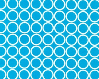 """END OF BOLT - 29.5"""" X 44"""" - Turquoise Circles From Robert Kaufman"""