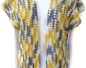 Cotton Crochet Vest, Spring Vest, Women Vest, Boho Vest, Yellow Ombre Vest, Stylish Vest, Gift for Her, No Wool, Boho Chic, Crochet Top