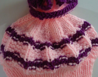 Hand-Knitted Girl's Hat, Girl's 5-7 years, Light Pink & Purple, New