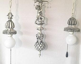 Cherub Chandelier Hanging Light Fixture Vintage Reclaimed Crystal Pendants