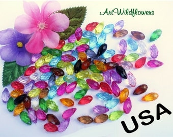 100 Faceted Lucite Beads - Multi Colored Mixed Rainbow Transparent Acrylic in Tear Drop Shape