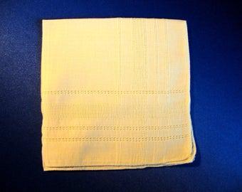 Vintage hankie with pulled thread geometric design yellow hanky hankies