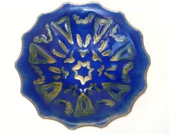 Atomic Starburst Enamel on Copper Studio Art Dish - Mid Century Jackson Woolley Era Signed Helen Baker Scalloped Bowl