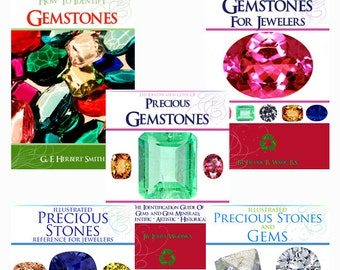 New Collection of 5 x RARE GEMSTONES and Semi Precious Gems Books ~ Illustrated Identify Cutting Instant Download