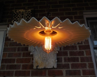 "Antique lighting 14 1/2"" Ruffled Petticoat Industrial Light Fixture #1"