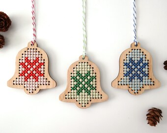 Christmas Bell ornaments | Set of 3 | Modern cross stitch