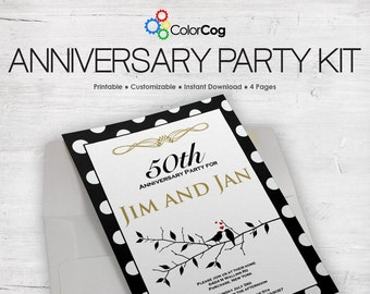 Anniversary Party Kit - Editable & Printable Package PDF