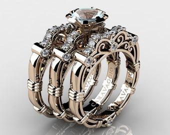 Art Masters Caravaggio Trio 14K Rose Gold 1.0 Ct Aquamarine White Diamond Engagement Ring Wedding Band Set R623S3-14KRGDAQ