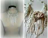 shabby crochet necklace,fairy jewelry, white colour