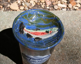 Rainbow Trout Dish in stoneware with textured river background. Keep those pests out of your drink! Ek Creations Design.