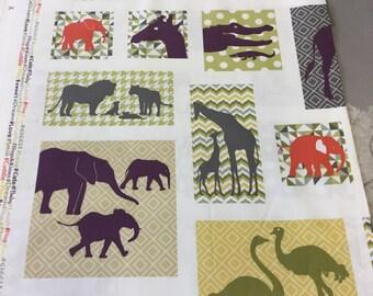 Andover fabrics pattern 7909 safari animals by the panel