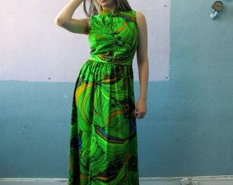 Vtg 60s Psychedelic Maxi Dress