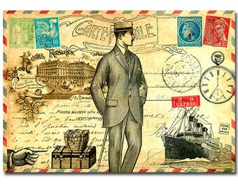 Old French postcard art print - Steampunk traveling man illustration