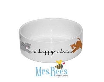 Happy Cat Bowl. Can be personalised. Ceramic cat bowl. Cat feeder. Cat dish. Gifts for pet lovers. Pet bowls. Custom cat bowl.
