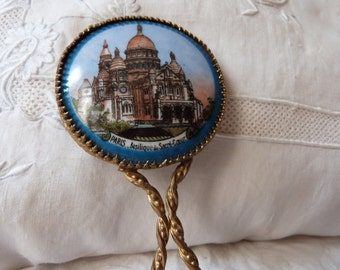 Vintage French hand mirror souvenir Sacre Coeur Montmartre Paris France porcelain w ormolu handle, vanity mirror, vintage boudoir handmirror