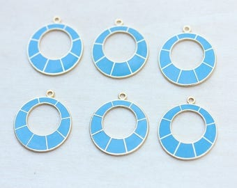 Blue Round Charms, Vintage Charms, Enamel Charms, Blue Charm, Round Charm, Blue Drop Charms, Charm, Charms, Circle Charms, Earring Part (6x)