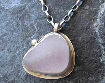 Lavender Sea Glass Pendant Beach Glass Jewelry