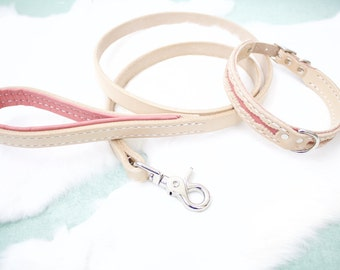 Small Leather Dog Collar and Leash Set - Vintage, Pink, Lace, Girl, Female, Femenine