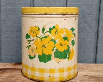 Vintage Kitchen Canister - Yellow Canister - Retro Kitchen - Kitchen Storage