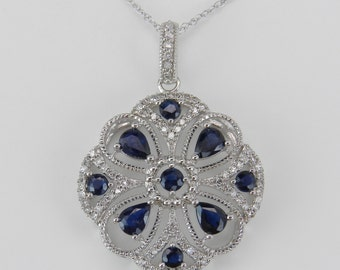 "Diamond and Sapphire Cluster Snowflake Pendant Necklace 14K White Gold 18"" Chain"