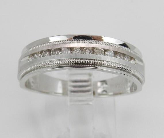 Men's Diamond Wedding Ring Anniversary Band set in 14K White Gold Size 10.25